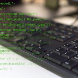 パソコンでプログラムを書いている