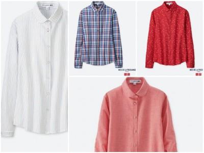 ユニクロリネンブレンドラウンドカラーシャツ(長袖)+E