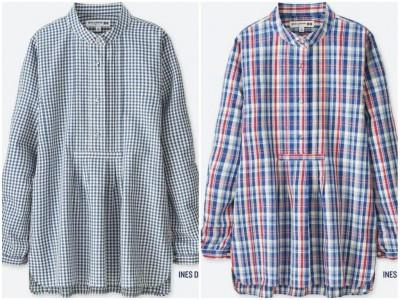 ユニクロリネンブレンドラウンドカラーシャツ(長袖)+Eユニクロリネンブレンドラウンドカラーシャツ(長袖)+E